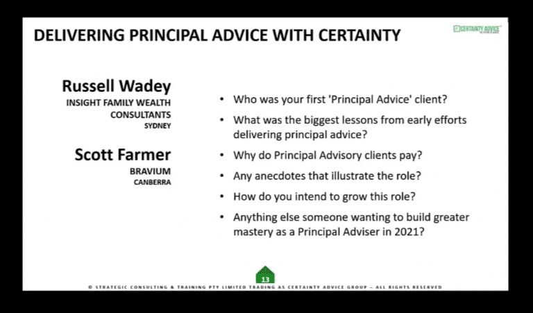 Performing Principal Adviser with Certainty